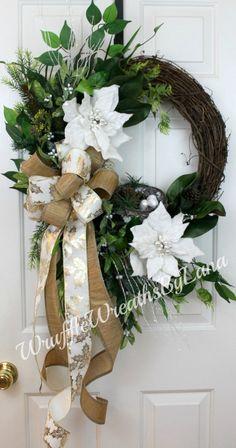 White Christmas Grapevine Wreath, White Poinsettia Wreath, Grapevine Wreath, Front Door Wreath, Christmas Wreath by WruffleWreathsbyLana on Etsy