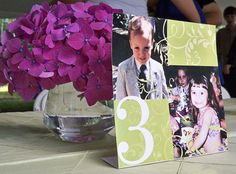 Adore this idea - table numbers with a photo of each of you. Age corresponds with table number. Wedding Table, Our Wedding, Dream Wedding, Wedding Stuff, Wedding Things, Wedding Reception, Destination Wedding Decor, Wedding Vendors, Weddings