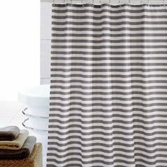 Eforcurtain Striped Mildew-Free Water-Repellent Fabric Stall Shower Curtain,Grey/gray White by Cheap Shower Curtains, Modern Shower Curtains, Striped Shower Curtains, White Curtains, Shower Curtain Sets, Bathroom Curtains, Fabric Shower Curtains, Curtain Store, White Shower