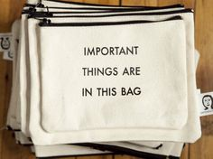 important things are in this bag pouch. $15.00, via Etsy.