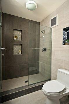 modern walk in showers small bathroom designs with walk in shower bathroom tile pinterest badezimmer - Kleines Bad Grosse Dusche