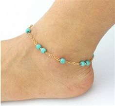 Beaded Turquoise Beads Anklets Feature: brand new and high quality. Quantity: Gender: Women Color: As shown here Nice accessories to integrate jewelry Gold Anklet, Beaded Anklets, Anklet Jewelry, Anklet Bracelet, Beaded Jewelry, Diy Jewelry, Jewelry Making, Jewellery, Beaded Bracelet