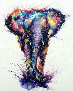Watercolor Temporäre Tattoos, Fake Tattoos, Elephant Tattoos, Moose Art, Tattoos, Backgrounds, Animaux, Elephant Pictures, Colorful Pictures