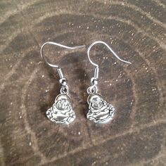 Buddha Earrings Tibetan Silver Lightweight Dangle