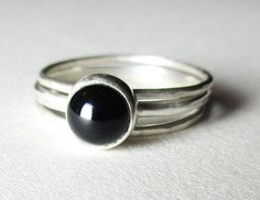 Onyx Gemstone Silver Rings Black Onyx Hammered by munchkinsmirror