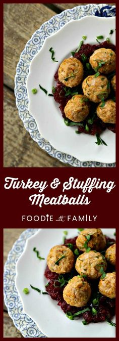 There's nothing boring about these turkey and stuffing meatballs made with cornbread stuffing mix & onions, celery, sage, and garlic softened in butter. Serve with cranberry sauce and it's Thanksgiving on a fork! Sage Stuffing, Turkey Stuffing, Cornbread Stuffing, Turkey Leftovers, Turkey Meatloaf, Appetizer Recipes, Dinner Recipes, Appetizers, Dinner Ideas