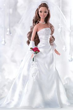 2005: David's Bridal Eternal Barbie  David's Bridal's second Barbie style features a glittery top with a satin skirt. Wedding Barbies - Vintage Barbies | Wedding Planning, Ideas  Etiquette | Bridal Guide Magazine