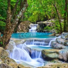 Waterfall beautiful asia Tha via MuralsYourWay.com