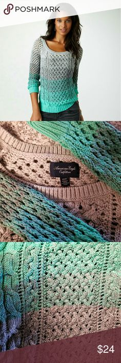 🍉FINAL SALE!🍉 AE ombre sweater! Beautiful AE ombre sweater!  Gorgeous colors light up any outfit.  Worn a few times -- in great shape!  86% cotton/16% acrylic. American Eagle Outfitters Sweaters Cardigans