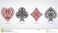 Spades, Hearts, Diamonds, Clubs Poker Cards Symbols Grey Background Stock Vector - Image: 47941907