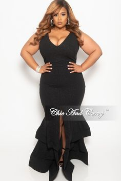 3101a8a8ad5 Plus Size Sleeveless Glitter Maxi Dress with Ruffle Bottom – Chic And Curvy  Chic And Curvy