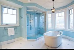 bathroom, the color is okay, but I love the tub and shower