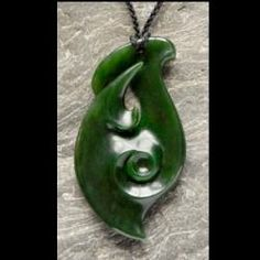 Jewelry, Feature Artist Hepi Maxwell, Hepi Maxwell Carved Hei Matau Koru Carving in Pounamu (Jade) * SOLD*. Free World Delivery