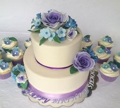 *Purple Ombre Rose Cake*  Today's cake is a birthday cake for a 9 year old girl. She got to help design it. She wanted roses because her middle name is Rose, and purple & blue are her favorite colors.