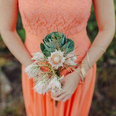 Bridesmaid's Wedding Posy Of: Blushing Bride Protea & Green Kale