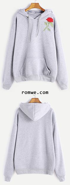 Grey Rose Embroidery Drawstring Hooded Pocket Sweatshirt New Look Clothes, Teen Fashion, Fashion Outfits, Rose Embroidery, Latest Street Fashion, Yoga Tops, Sweater Weather, Jumpers, Cute Shirts