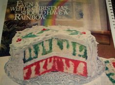 I have been collecting recipes for 60 years...I think it is about time I share my collection..of some of my favorites. This is one of them, picture and recipe is from from General Foods Corp.EVEN A WHITE CHRISTMASSHOULD HAVE A RAINBOW. (cake)I probably tore this recipe out of a magazine..way back in 1980.I have made this many times..always have received raves and compliments on this recipe.Hope you and yours enjoy it also.MERRY CHRISTMAS !