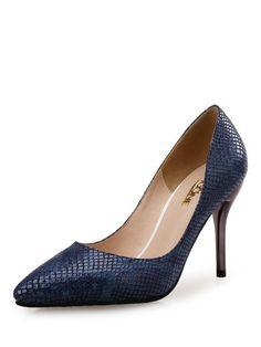 Shop Heels - Blue Microfiber Office & Career Stiletto Heel Heel online. Discover unique designers fashion at StyleWe.com.