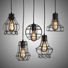 VINTAGE INDUSTRIAL METAL CAGE BLACK CAFE LOFT BAR PENDANT LIGHT LAMP SHADE in Home, Furniture & DIY, Lighting, Ceiling Lights & Chandeliers | eBay