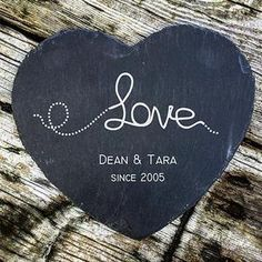 """Personalised Slate Heart Laser Engraved with /""""Be My Valentine/"""" Gift Idea"""
