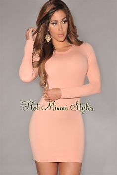 Light Salmon Long Sleeves Body-Con Dress Womens clothing clothes hot miami styles hotmiamistyles hotmiamistyles.com sexy club wear evening clubwear cocktail party kim kardashian dresses