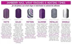 Jamberry Nail Wrap Finishes and Heating Times http://marciatennyson.jamberrynails.net/