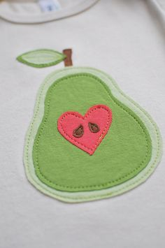Pear Applique using felt - LOVELY for a baby, or for the girls