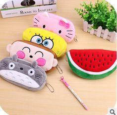 Kawaii Cartoon Animal Large Capacity Plush Pencil Bag Storage Pouch Cosmetic Bag Promotional Gift Stationery
