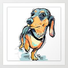 Dachshund Art Print by Cartoon Your Memories - $22.88