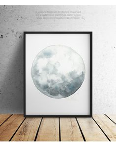 Full Moon Art Luna Watercolor Painting Blue by ColorWatercolor