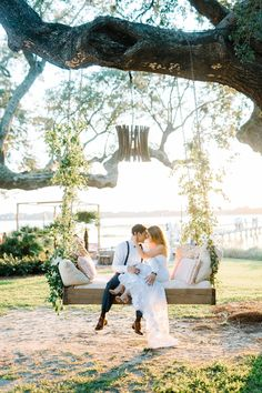 Bride and groom sitting on a swing bed at their September wedding at Lowndes Grove Plantation in Charleston, South Carolina. Aaron and Jillian Photography Wedding Swing, Wedding Stage, Wedding Poses, Wedding Venues, Dream Wedding, Wedding Bride, Wedding Ideas, Wedding Details, Wedding Inspiration