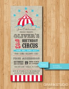 Printable Circus Birthday Invitations by GrafikStudio on Etsy, $15.00