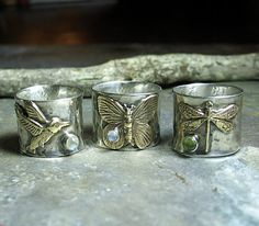 Sterling Silver and Brass Butterfly, Hummingbird, or Dragonfly Ring with Choice of Stone     ...from Lavender Cottage Jewelry