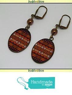 Boucles d'oreilles retro vintage resine Afrique noir marron ocre resine laiton bronze perle verre pendentifs 18x25mm attaches coquillage à partir des Lydee Deco https://www.amazon.fr/dp/B073R1K2HM/ref=hnd_sw_r_pi_dp_tOlyzb8NWQMKR #handmadeatamazon