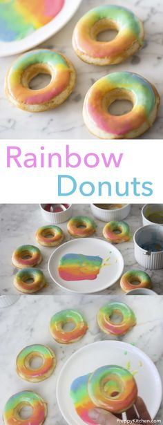 Delicious baked vanilla donuts with a beautiful rainbow effect. Click over for recipe and video. via @preppykitchen