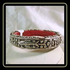 d7cbd9c3941 Tibetan Bangle Bracelet with Sterling Silver Repousse Decoration Tibetan  Jewelry