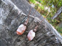 Fire Agate Copper Earrings Orange natural stone dangle by SanaGem