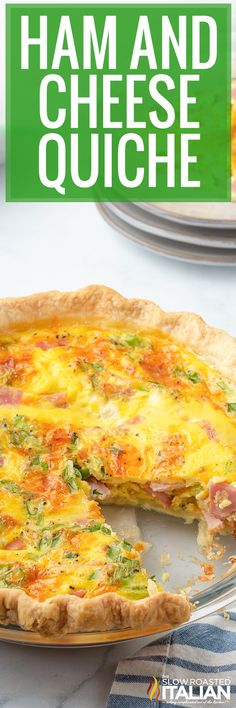 You can enjoy easy ham and cheese quiche for breakfast, lunch, or dinner. Make this simple recipe to use up your leftover Easter ham. #HamAndCheeseQuiche #Breakfast #LeftoverHam Quiche Recipes, Brunch Recipes, Casserole Recipes, Dinner Recipes, Brunch Ideas, Easter Recipes, Egg Recipes, Easter Ideas, Holiday Recipes
