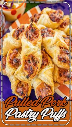 Pulled Pork Pastry Puffs - Football Friday Pulled Pork Pastry Puffs - only 4 ingredients! Great recipe for a quick lunch, dinner or party. Smoky pulled pork tossed with BBQ sauce and cheese then baked in puff pastry. Can make ahead an Make Ahead Appetizers, Appetizers For Party, Appetizer Recipes, Party Snacks, Party Recipes, Cold Appetizers, Cheese Appetizers, Party Dips, Appetizer Dips
