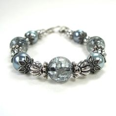 Ice Blue Bracelet Crackle Glass Beads Faux by RoughMagicCreations