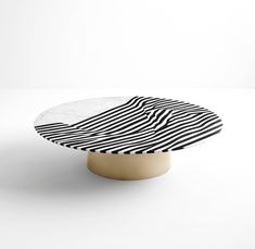 Modern Veiled Coffee Table, Nero Marquinia and Carrara Marble Inlays, Brass Base For Sale