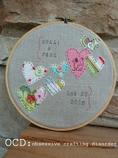 A little embroidery hoop to mark the big day -  would make a beautiful, thrifty, gift from the heart!