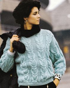 Vintage Knitting Pattern Instructions to Make Ladies Chunky Cable Jumper Sweater
