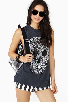 Painted Skull Muscle Tee by Evil Twin