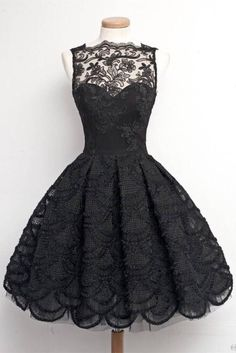 Vintage Black Lace A-line Modest Homecoming Dresses For Teens Z0043