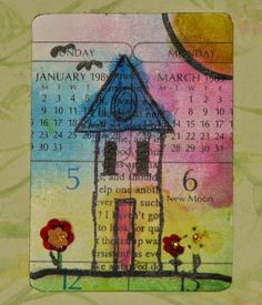 Home Sweet Home ATC - JFF Rubber Stamps & Gelatos