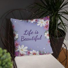 Enjoy this beautiful decorative floral throw pillow which is soft, with a machine-washable case. Included in this item is a shape-retaining insert. If you would like the same design but only a floral, decorative throw pillow (with sayings) or without, please contact us for custom orders. Sizes: