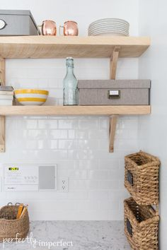 Reclaimed Wood Open Shelving | Kitchen Renovation | perfectly imperfect