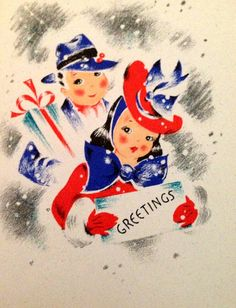A really charming c. 1940s Christmas greetings card starring a well dressed couple (love her hat!). #vintage #Christmas #cards