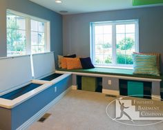 Basement Ideas - great storage idea and a good hiding place for the sump pump